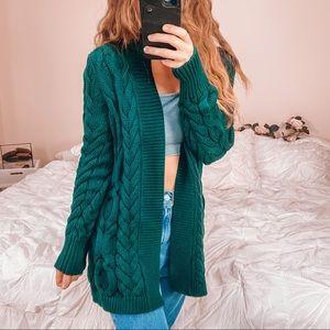 Women's green chunky knit cardigan sweater S/M